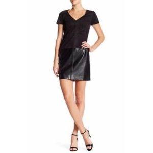 NWT Laundry Shelli Sagal Leather/Suede Black Dress